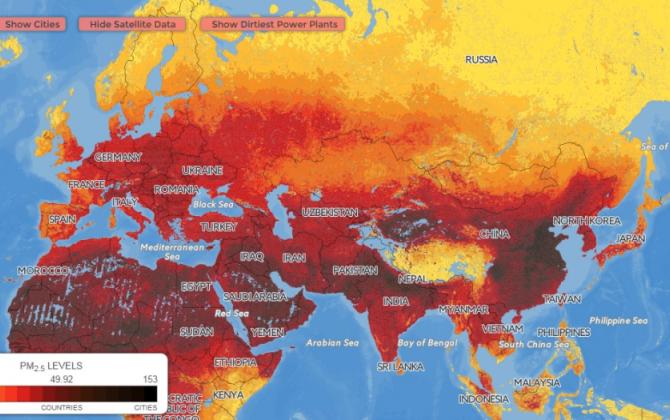 Представлена интерактивная карта загрязнения воздуха в мире