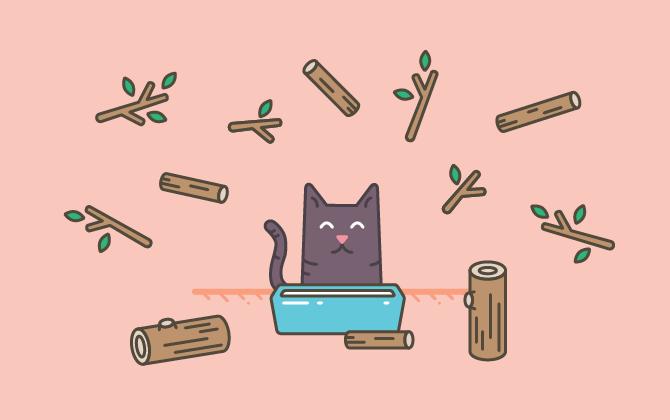 Используйте древесный наполнитель для кошачьего туалета