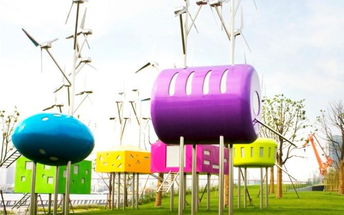 Детская площадка в Шанхае работает на энергии ветра