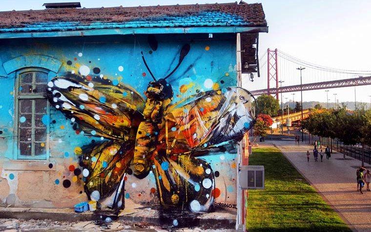 Португальский художник сделал граффити из мусора